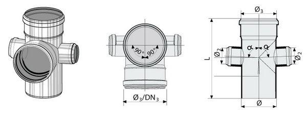 Синикон Крестовина ПП 2-х сторонняя 110x110x50/87°,
